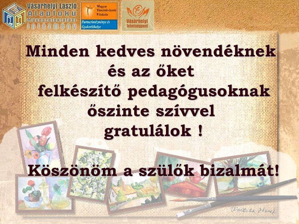 Minden kedves növendéknek és az őket felkészítő pedagógusoknak őszinte szívvel gratulálok ! Köszönöm a szülők bizalmát!