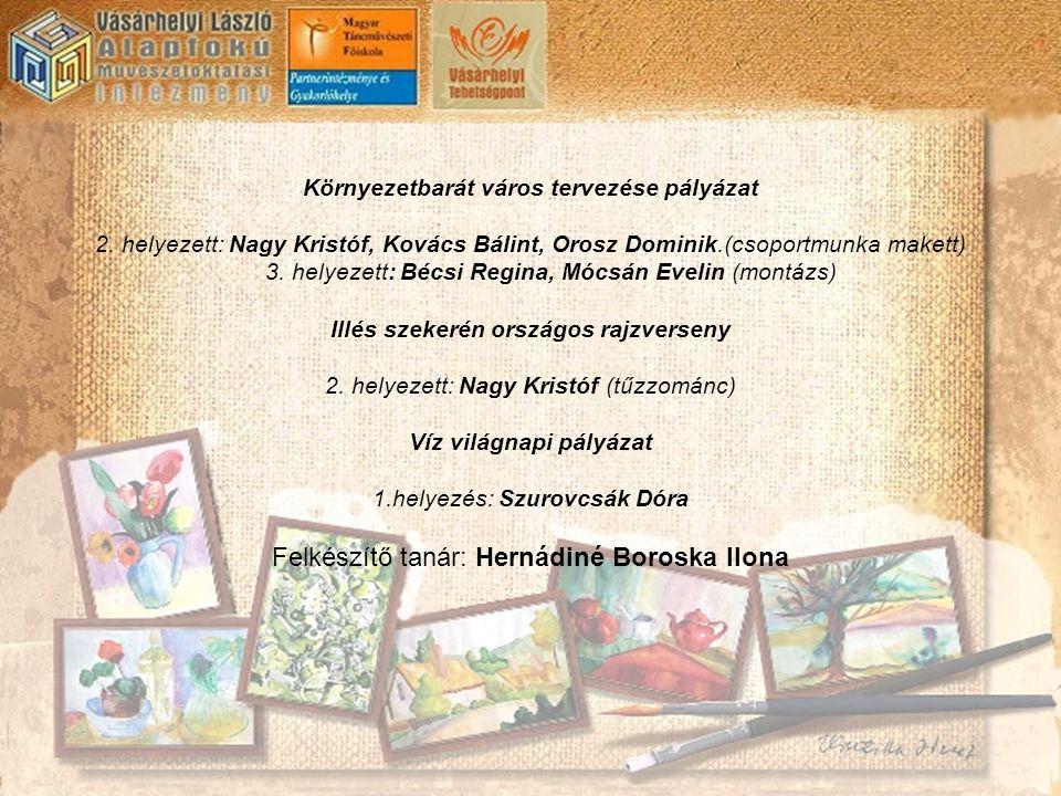 Környezetbarát város tervezése pályázat 2. helyezett: Nagy Kristóf, Kovács Bálint, Orosz Dominik.(csoportmunka makett) 3. helyezett: Bécsi Regina, Móc