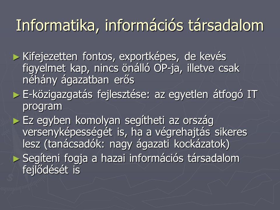 Informatika, információs társadalom ► Kifejezetten fontos, exportképes, de kevés figyelmet kap, nincs önálló OP-ja, illetve csak néhány ágazatban erős ► E-közigazgatás fejlesztése: az egyetlen átfogó IT program ► Ez egyben komolyan segítheti az ország versenyképességét is, ha a végrehajtás sikeres lesz (tanácsadók: nagy ágazati kockázatok) ► Segíteni fogja a hazai információs társadalom fejlődését is