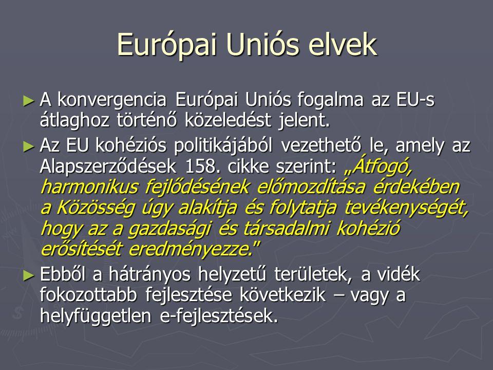 Európai Uniós elvek ► A konvergencia Európai Uniós fogalma az EU-s átlaghoz történő közeledést jelent.