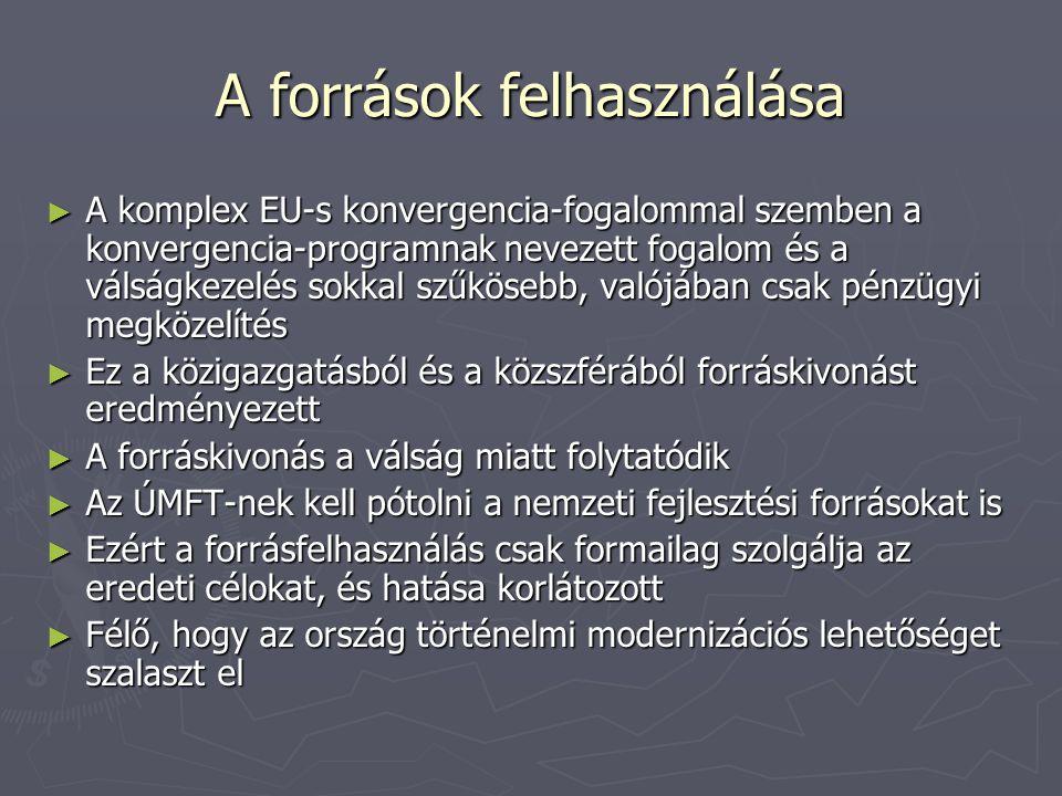 A források felhasználása ► A komplex EU-s konvergencia-fogalommal szemben a konvergencia-programnak nevezett fogalom és a válságkezelés sokkal szűkösebb, valójában csak pénzügyi megközelítés ► Ez a közigazgatásból és a közszférából forráskivonást eredményezett ► A forráskivonás a válság miatt folytatódik ► Az ÚMFT-nek kell pótolni a nemzeti fejlesztési forrásokat is ► Ezért a forrásfelhasználás csak formailag szolgálja az eredeti célokat, és hatása korlátozott ► Félő, hogy az ország történelmi modernizációs lehetőséget szalaszt el