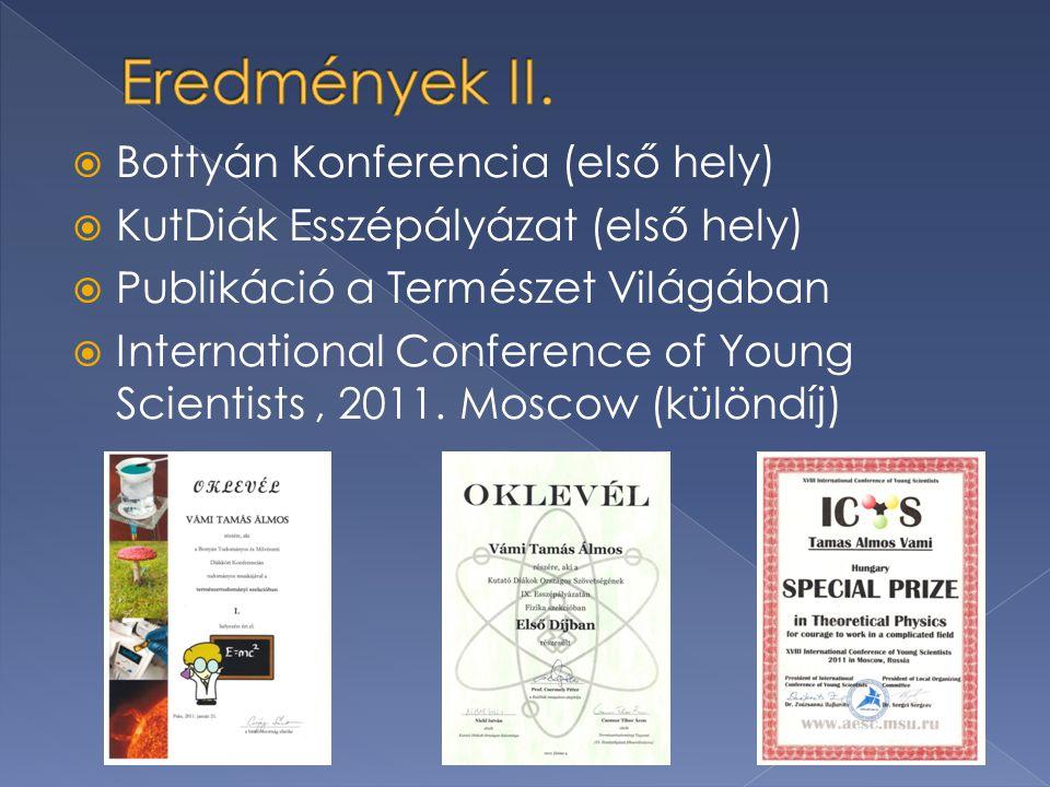  Bottyán Konferencia (első hely)  KutDiák Esszépályázat (első hely)  Publikáció a Természet Világában  International Conference of Young Scientists, 2011.