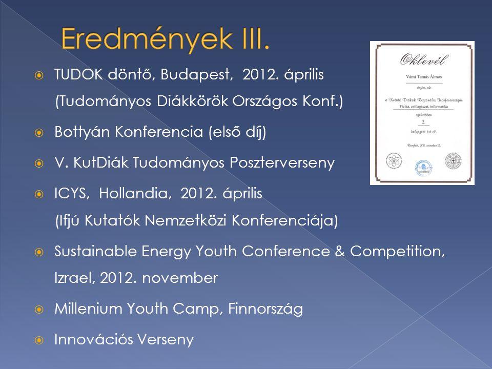  TUDOK döntő, Budapest, 2012. április (Tudományos Diákkörök Országos Konf.)  Bottyán Konferencia (első díj)  V. KutDiák Tudományos Poszterverseny 