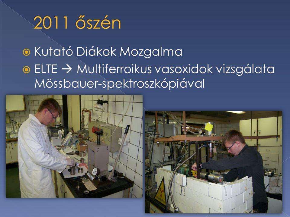  Kutató Diákok Mozgalma  ELTE  Multiferroikus vasoxidok vizsgálata Mössbauer-spektroszkópiával