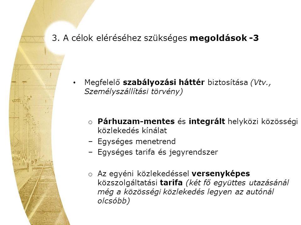 3. A célok eléréséhez szükséges megoldások -3 Megfelelő szabályozási háttér biztosítása (Vtv., Személyszállítási törvény) o Párhuzam-mentes és integrá