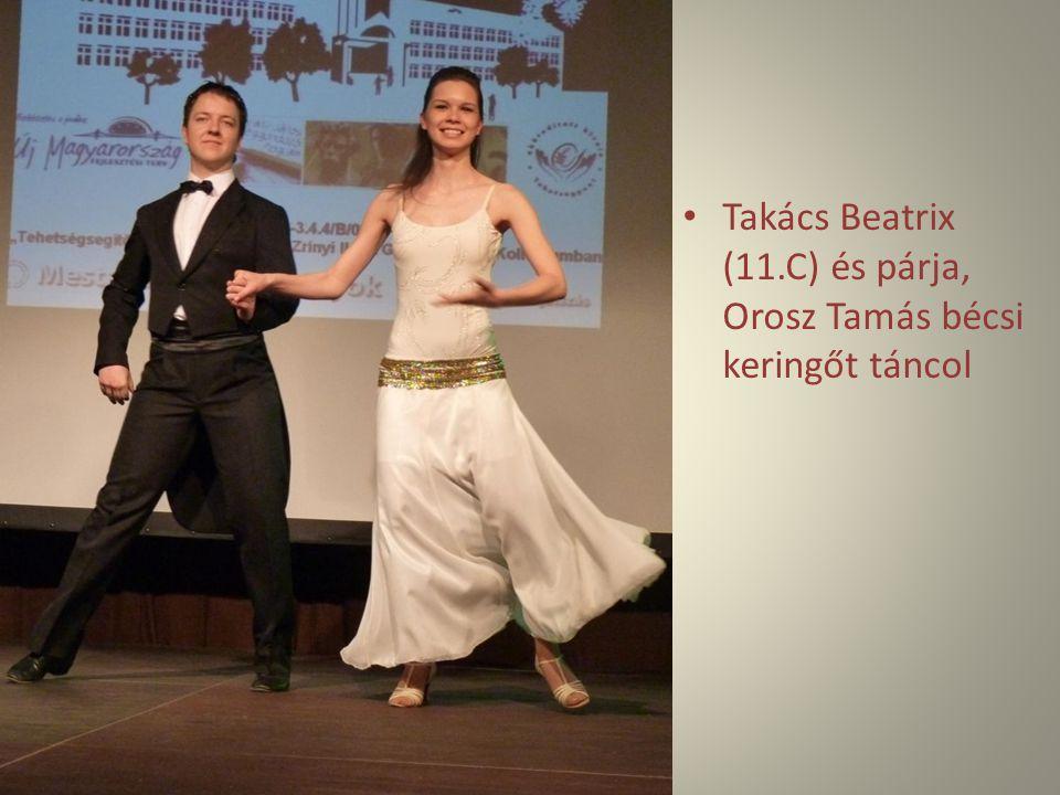 Takács Beatrix (11.C) és párja, Orosz Tamás bécsi keringőt táncol