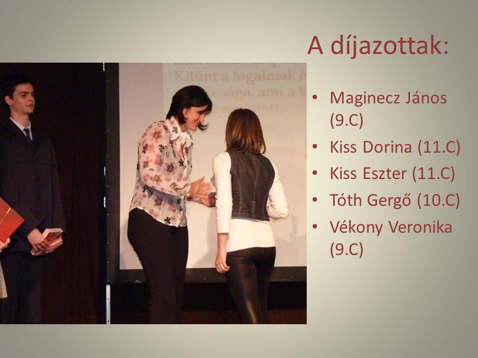 A díjazottak: Maginecz János (9.C) Kiss Dorina (11.C) Kiss Eszter (11.C) Tóth Gergő (10.C) Vékony Veronika (9.C)