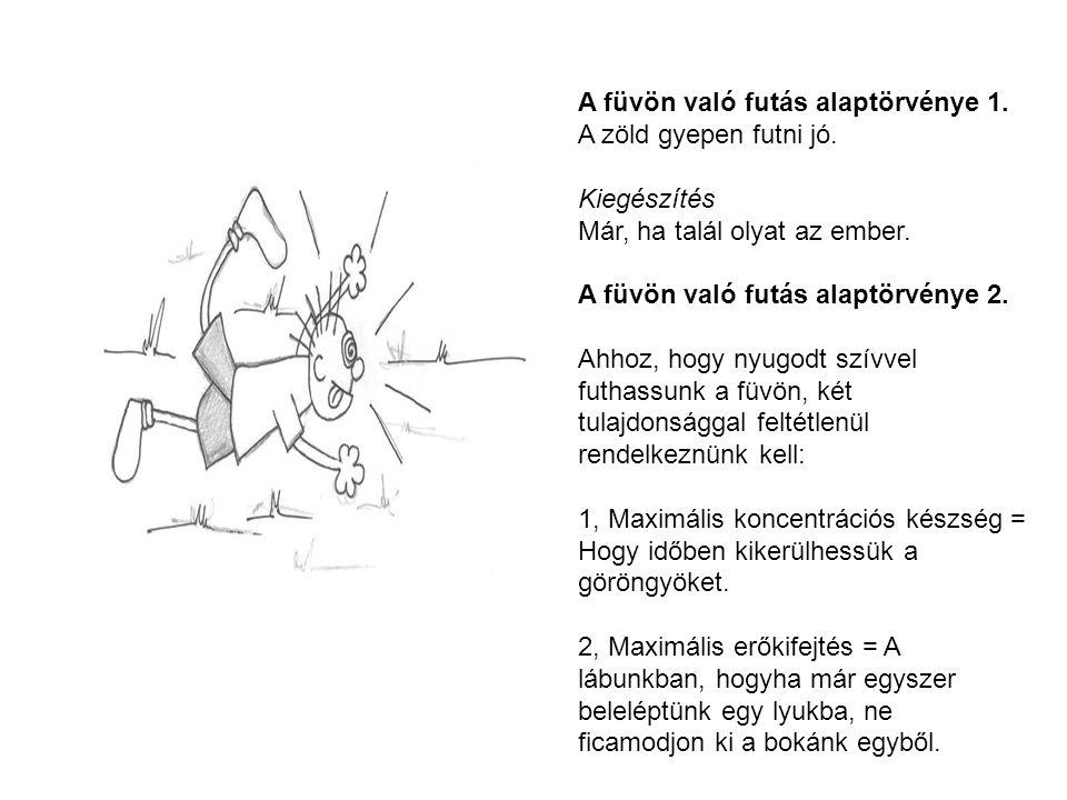 A füvön való futás alaptörvénye 1. A zöld gyepen futni jó. Kiegészítés Már, ha talál olyat az ember. A füvön való futás alaptörvénye 2. Ahhoz, hogy ny