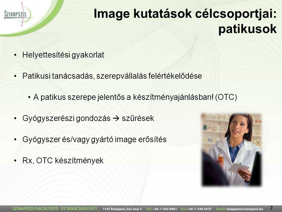 7 Image kutatások célcsoportjai: patikusok Helyettesítési gyakorlat Patikusi tanácsadás, szerepvállalás felértékelődése A patikus szerepe jelentős a készítményajánlásban.