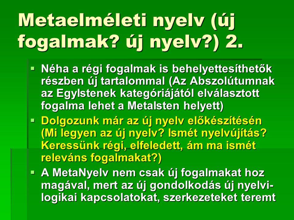 Metaelméleti nyelv (új fogalmak? új nyelv?) 2.  Néha a régi fogalmak is behelyettesíthetők részben új tartalommal (Az Abszolútumnak az EgyIstenek kat