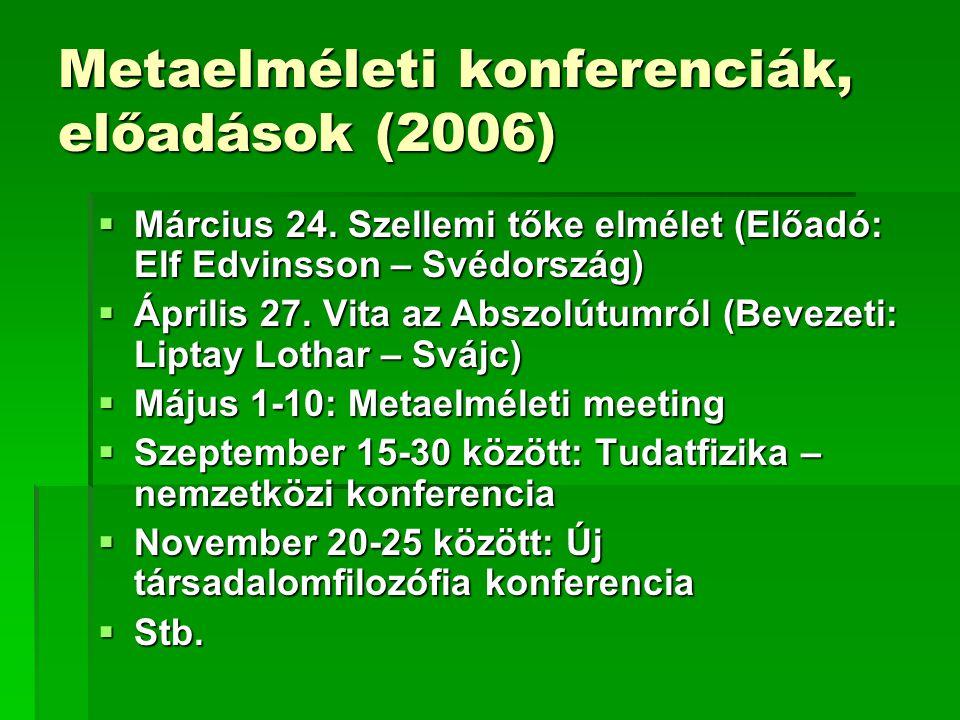 Metaelméleti konferenciák, előadások (2006)  Március 24. Szellemi tőke elmélet (Előadó: Elf Edvinsson – Svédország)  Április 27. Vita az Abszolútumr
