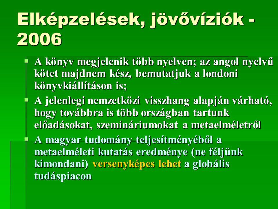 Elképzelések, jövővíziók - 2006  A könyv megjelenik több nyelven; az angol nyelvű kötet majdnem kész, bemutatjuk a londoni könyvkiállításon is;  A j
