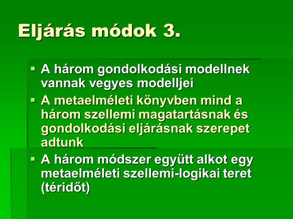 Eljárás módok 3.  A három gondolkodási modellnek vannak vegyes modelljei  A metaelméleti könyvben mind a három szellemi magatartásnak és gondolkodás