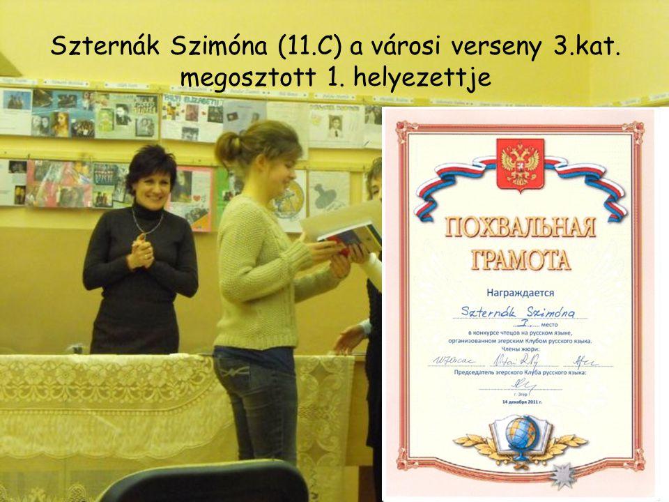 Szternák Szimóna (11.C) a városi verseny 3.kat. megosztott 1. helyezettje