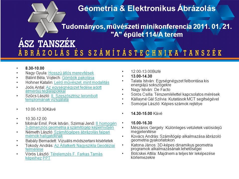 Geometria & Elektronikus Ábrázolás Tudományos, művészeti minikonferencia 2011.