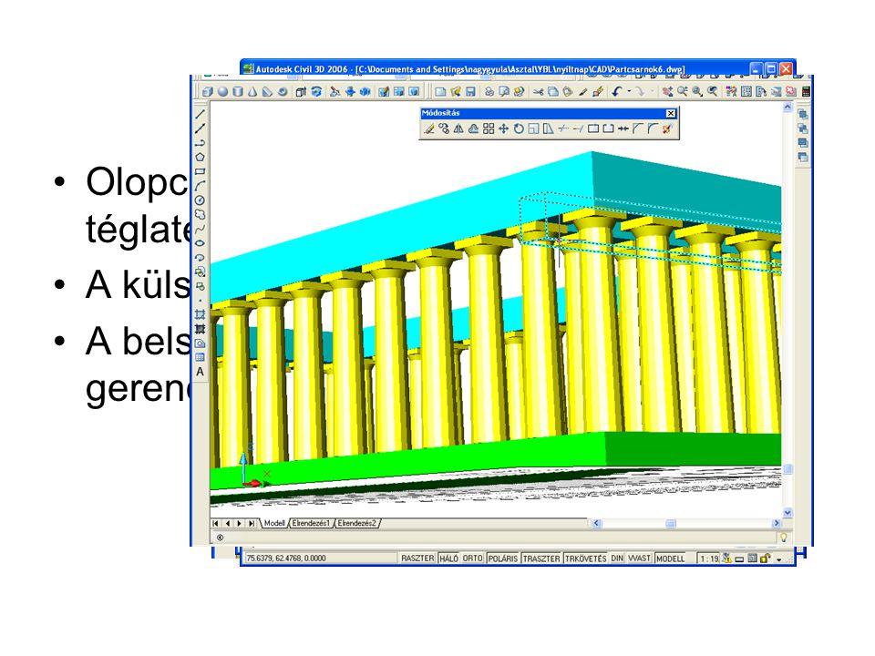 Triglifek és metopék, cseppek Egyetlen hasáb elkészítése Ebből a másik négy elkészítése Ezek pozicionálása Az összes főhomlokzati triglif kiosztással