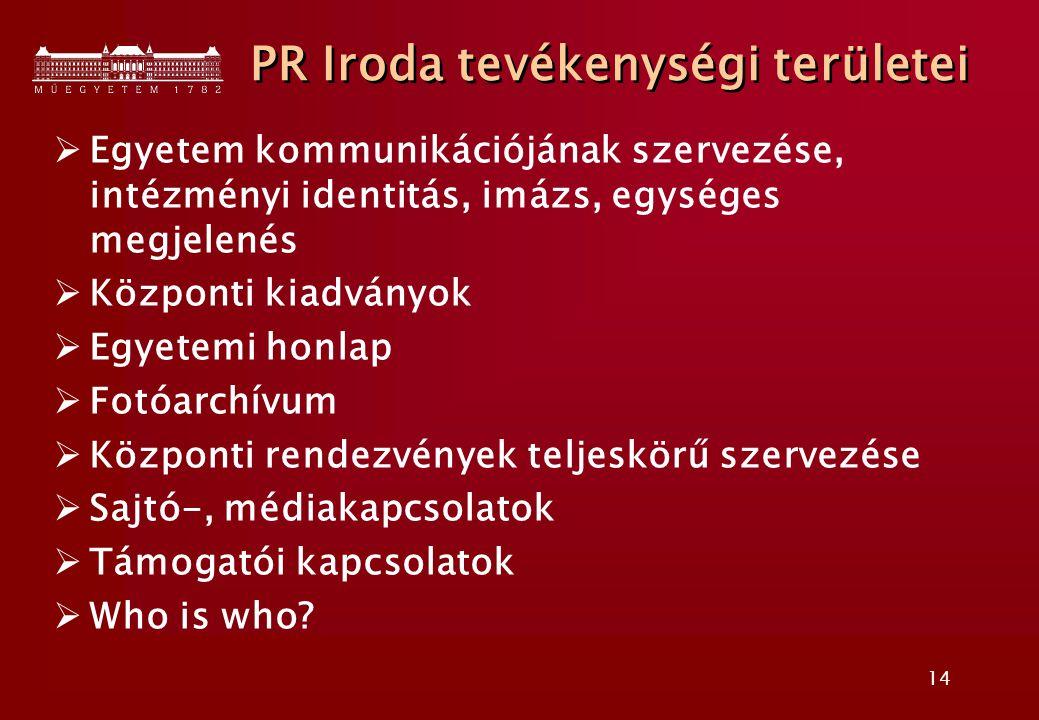 14 PR Iroda tevékenységi területei  Egyetem kommunikációjának szervezése, intézményi identitás, imázs, egységes megjelenés  Központi kiadványok  Egyetemi honlap  Fotóarchívum  Központi rendezvények teljeskörű szervezése  Sajtó-, médiakapcsolatok  Támogatói kapcsolatok  Who is who?