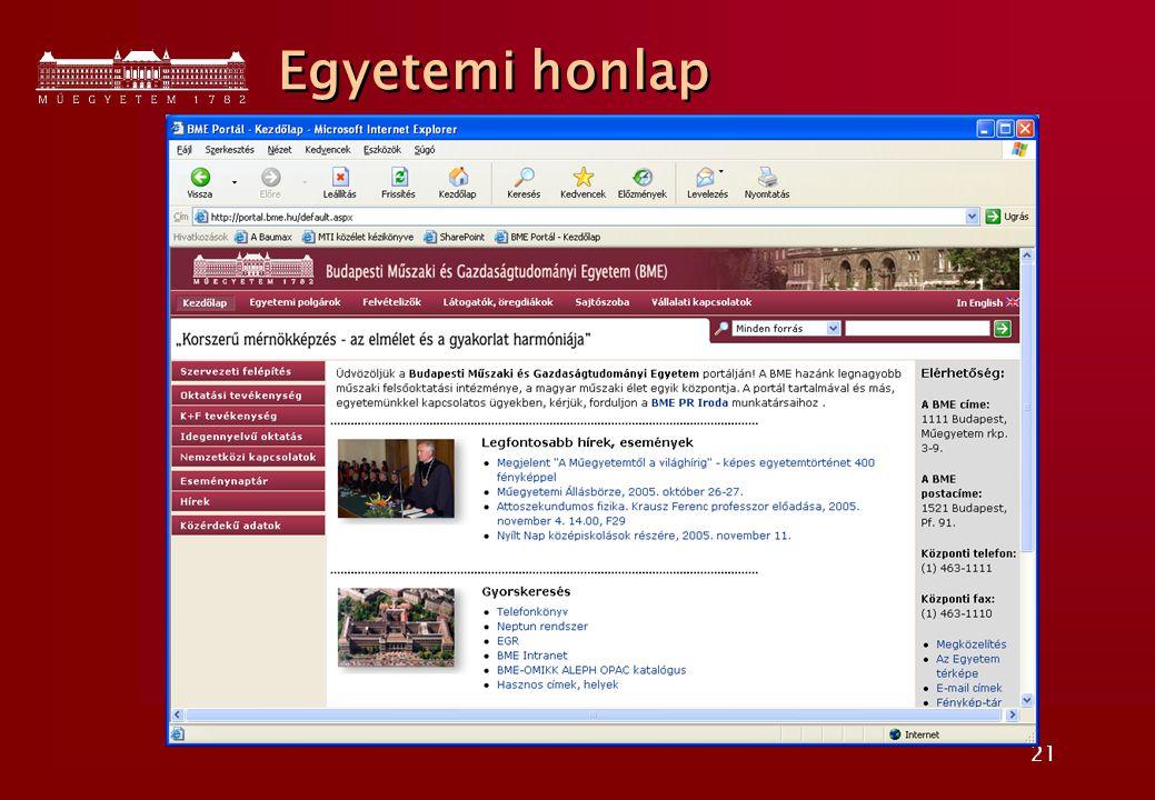 21 Egyetemi honlap