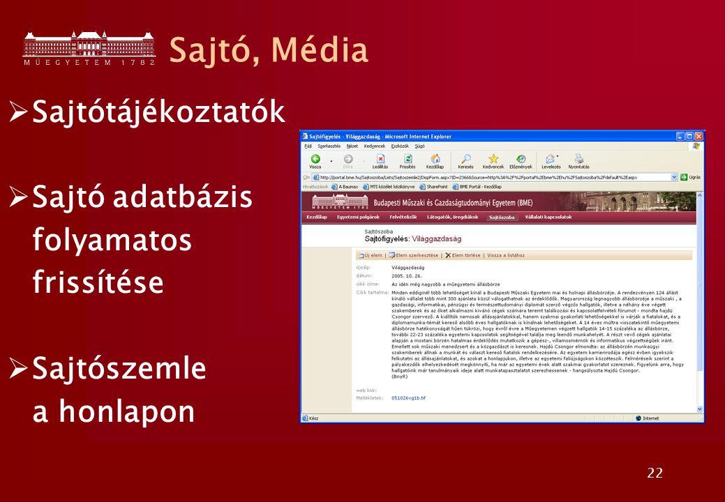 22  Sajtótájékoztatók  Sajtó adatbázis folyamatos frissítése  Sajtószemle a honlapon Sajtó, Média