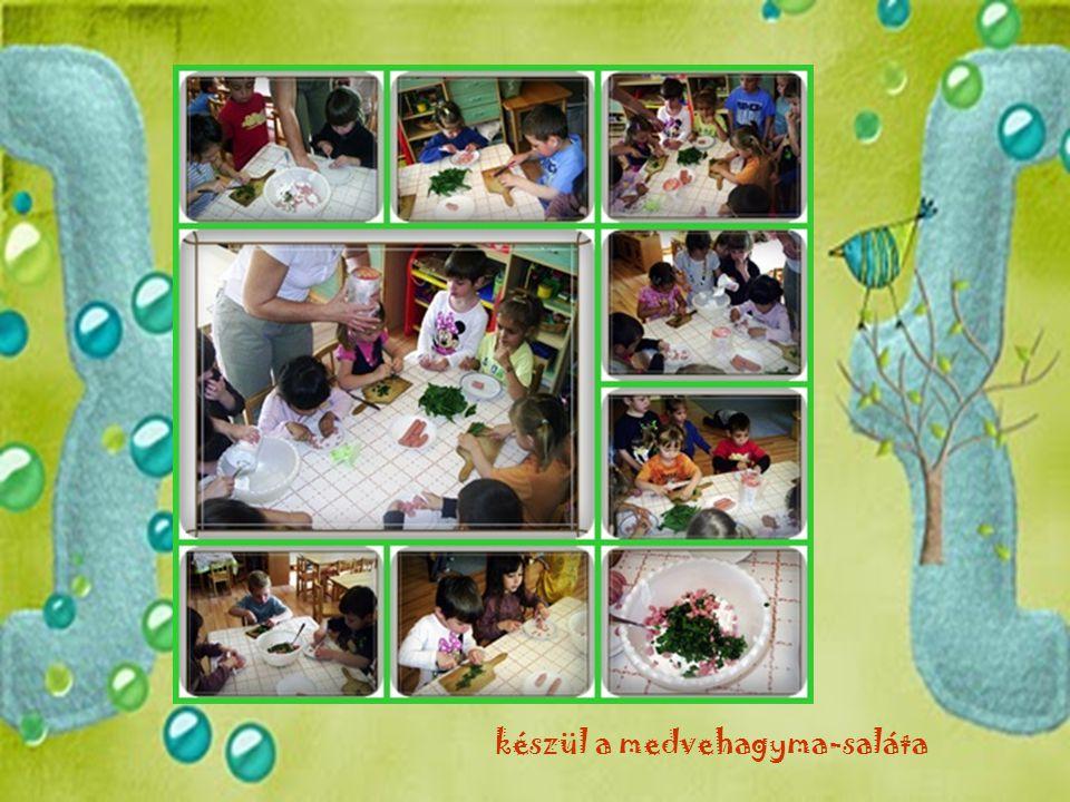 készül a medvehagyma-saláta