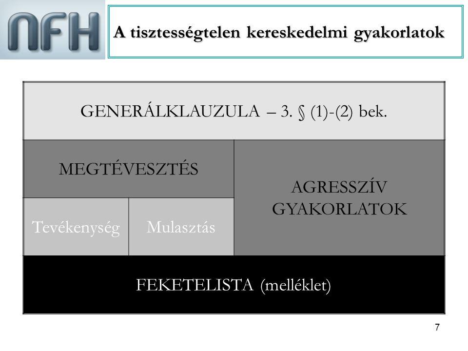 8 Generálklauzula – 3.§ (1)-(2) bek.