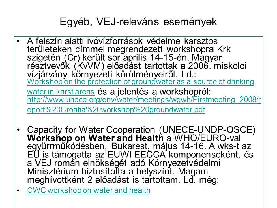 Egyéb, VEJ-releváns események A felszín alatti ivóvízforrások védelme karsztos területeken címmel megrendezett workshopra Krk szigetén (Cr) került sor