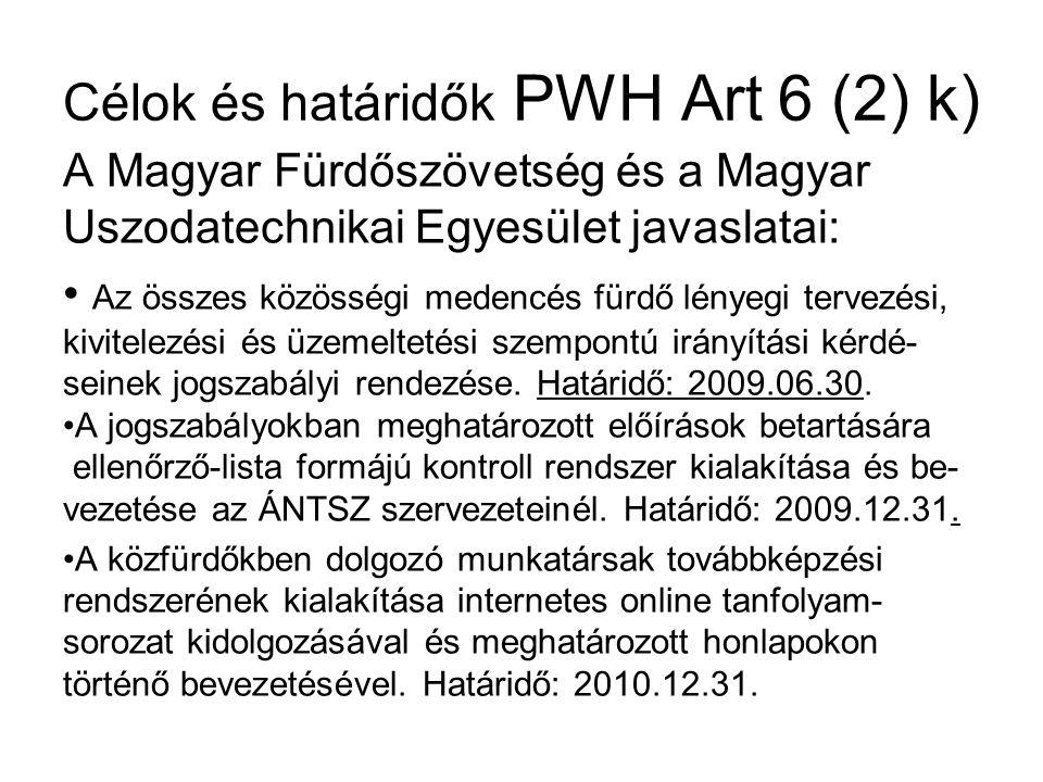 Célok és határidők PWH Art 6 (2) k) A Magyar Fürdőszövetség és a Magyar Uszodatechnikai Egyesület javaslatai: Az összes közösségi medencés fürdő lényegi tervezési, kivitelezési és üzemeltetési szempontú irányítási kérdé- seinek jogszabályi rendezése.