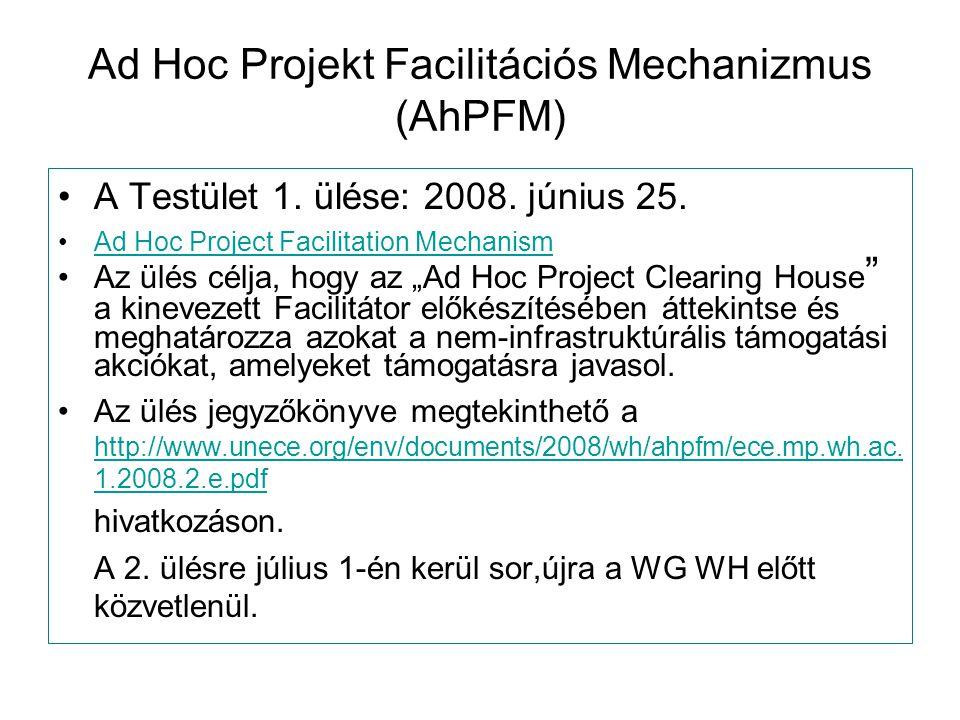 """Ad Hoc Projekt Facilitációs Mechanizmus (AhPFM) A Testület 1. ülése: 2008. június 25. Ad Hoc Project Facilitation Mechanism Az ülés célja, hogy az """"Ad"""