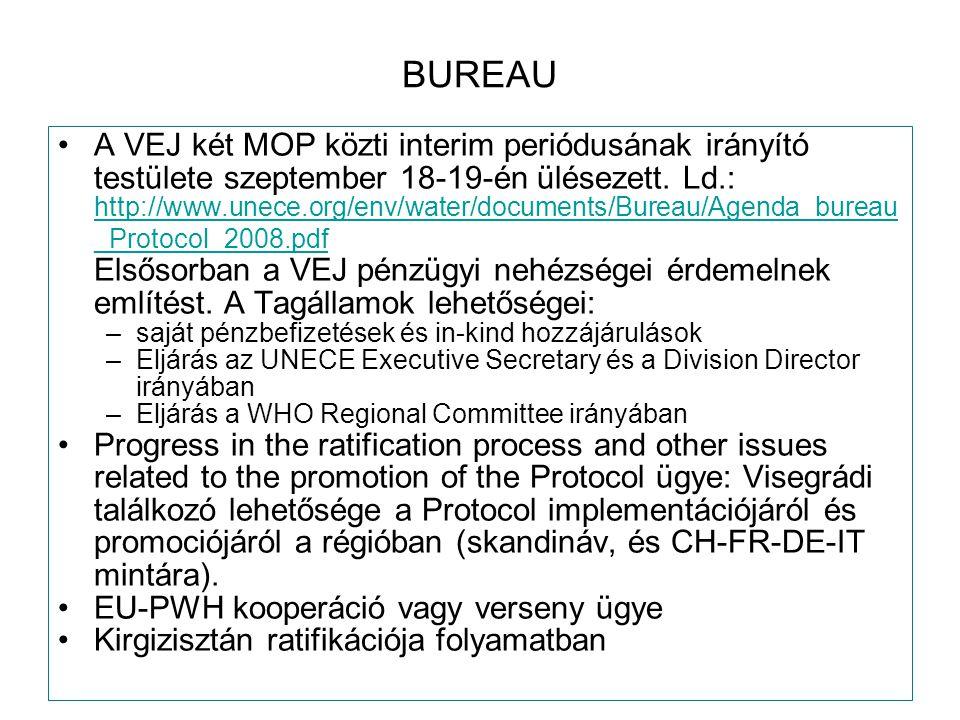 BUREAU A VEJ két MOP közti interim periódusának irányító testülete szeptember 18-19-én ülésezett. Ld.: http://www.unece.org/env/water/documents/Bureau
