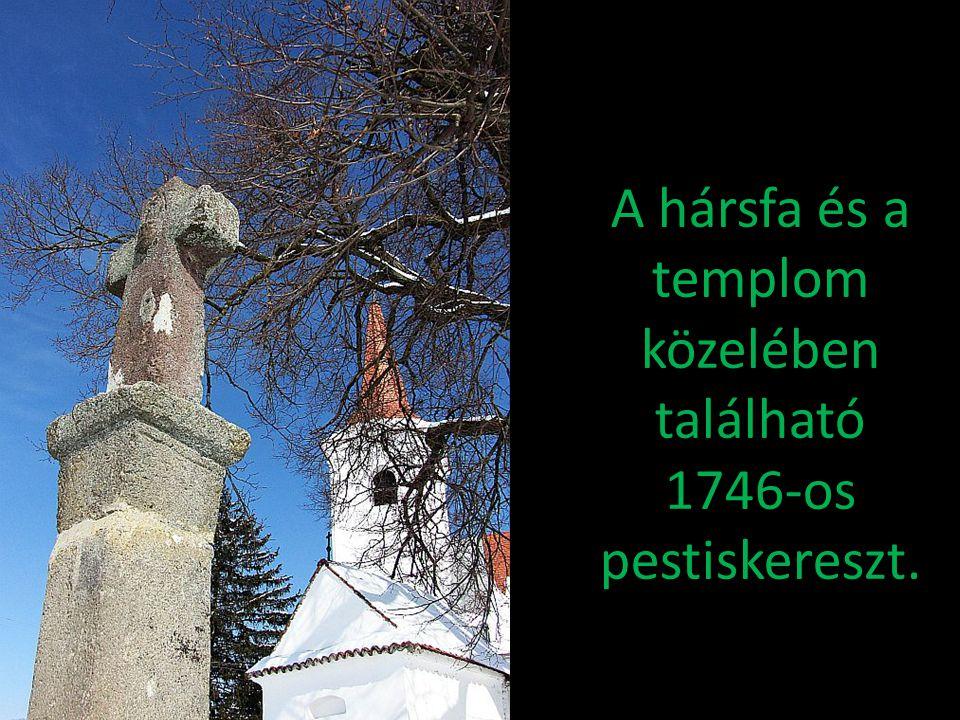 A hársfa és a templom közelében található 1746-os pestiskereszt.