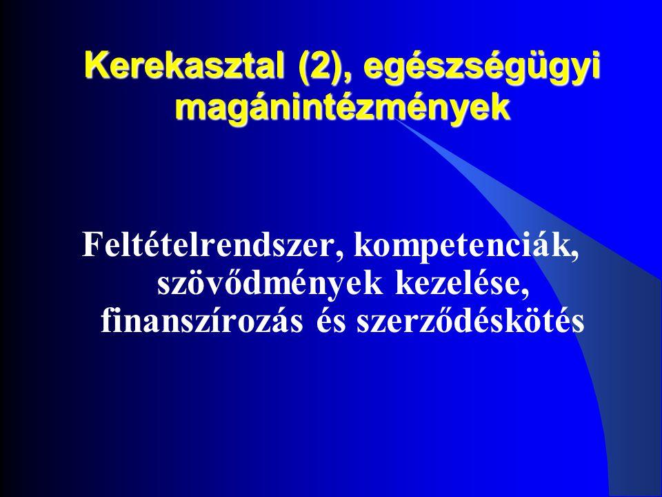 Kerekasztal (2), egészségügyi magánintézmények Feltételrendszer, kompetenciák, szövődmények kezelése, finanszírozás és szerződéskötés
