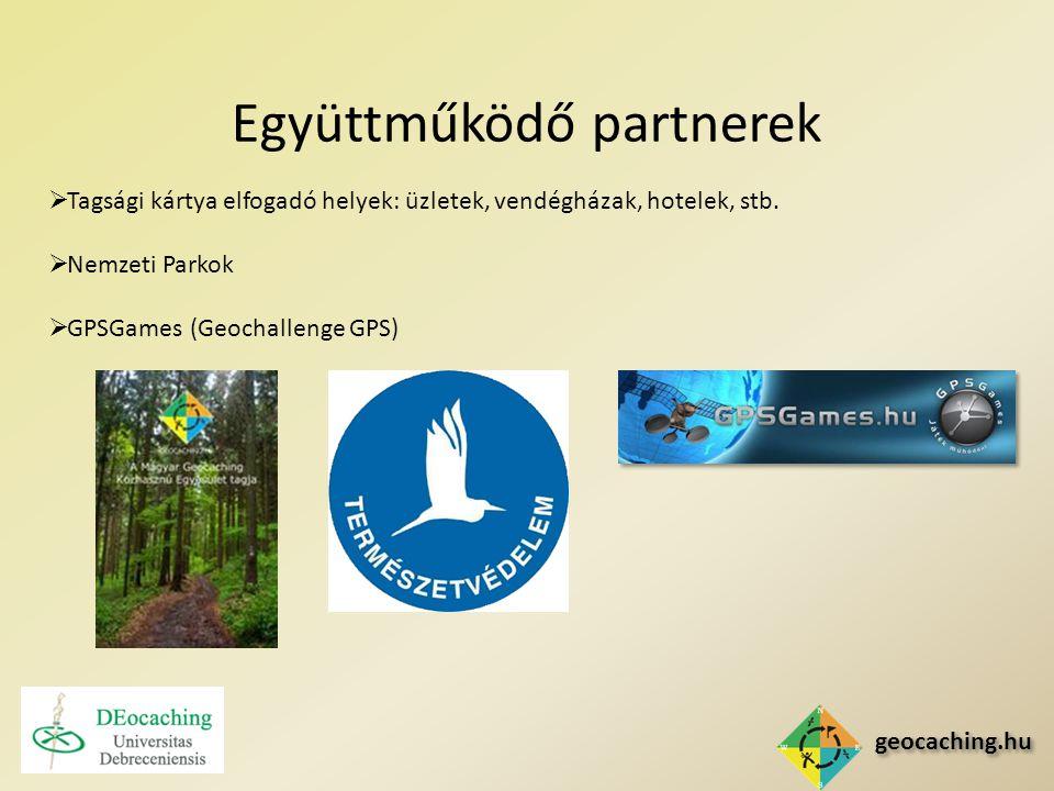 geocaching.hu Együttműködő partnerek  Tagsági kártya elfogadó helyek: üzletek, vendégházak, hotelek, stb.