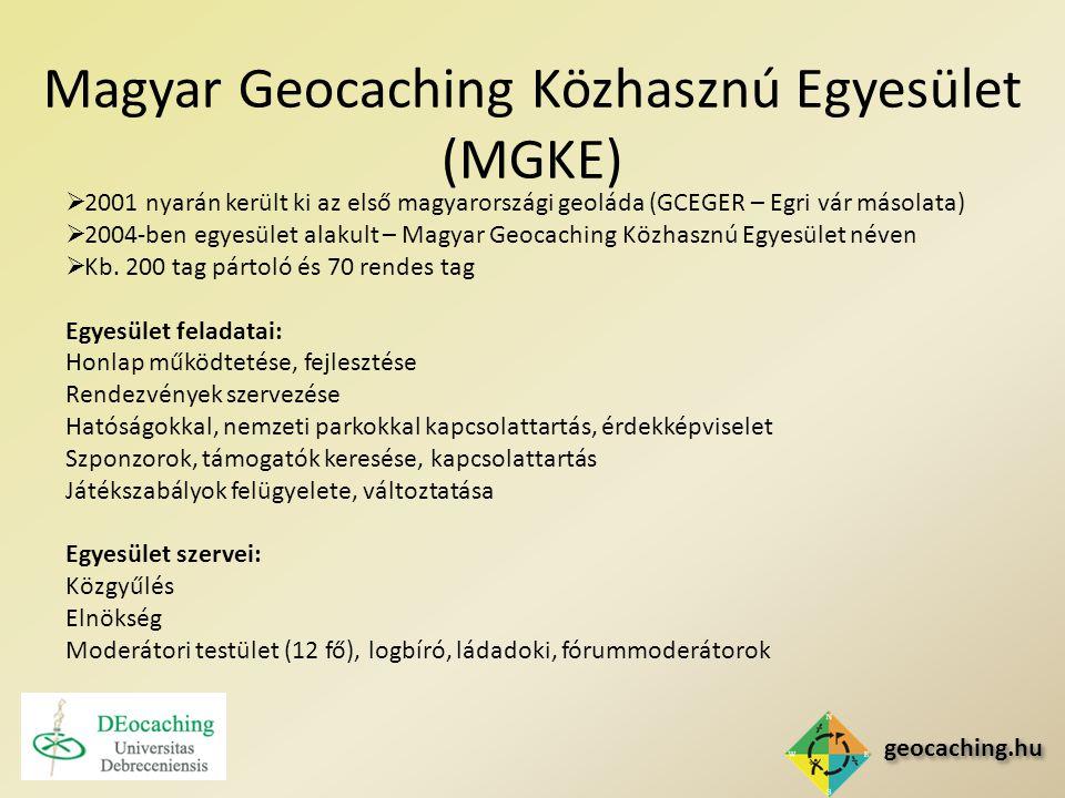 geocaching.hu Magyar Geocaching Közhasznú Egyesület (MGKE)  2001 nyarán került ki az első magyarországi geoláda (GCEGER – Egri vár másolata)  2004-ben egyesület alakult – Magyar Geocaching Közhasznú Egyesület néven  Kb.
