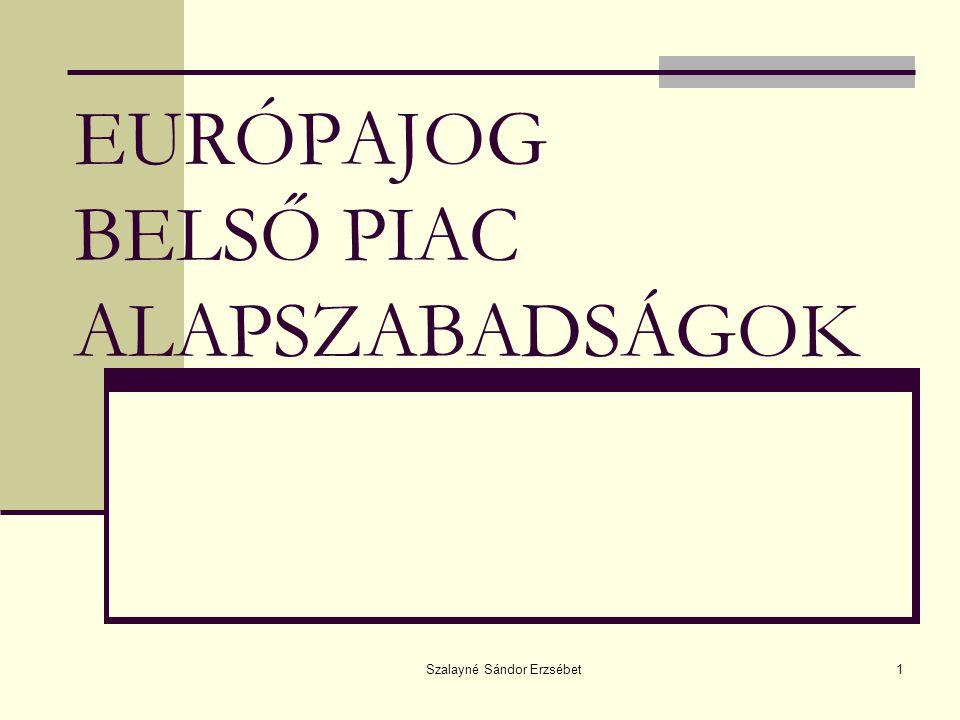 """Szalayné Sándor Erzsébet2 EK BELSŐ PIAC """" Raison d'être – a Közösség eredeti célkitűzése A tagállamok között egyetértés: Belső Piac = közös nevező Igény: tartós megvalósítás"""