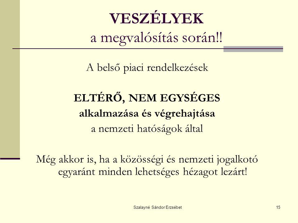 Szalayné Sándor Erzsébet15 VESZÉLYEK a megvalósítás során!.