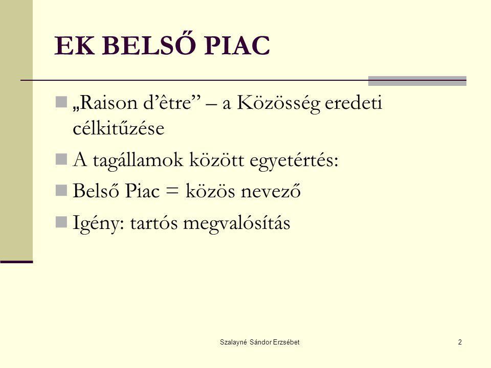 Szalayné Sándor Erzsébet3 BELSŐ PIAC Központi feladat: az 1958-as megalakulástól kezdve EKSz 2.