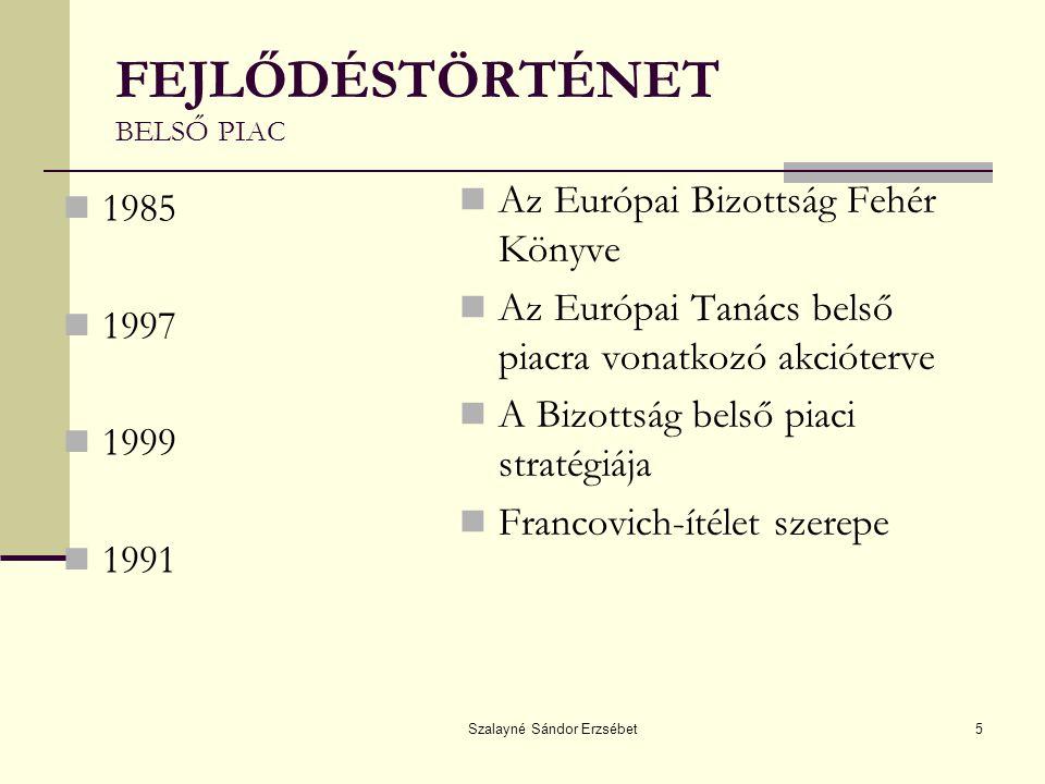 Szalayné Sándor Erzsébet5 FEJLŐDÉSTÖRTÉNET BELSŐ PIAC 1985 1997 1999 1991 Az Európai Bizottság Fehér Könyve Az Európai Tanács belső piacra vonatkozó akcióterve A Bizottság belső piaci stratégiája Francovich-ítélet szerepe