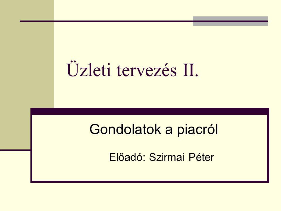 Üzleti tervezés II. Előadó: Szirmai Péter Gondolatok a piacról