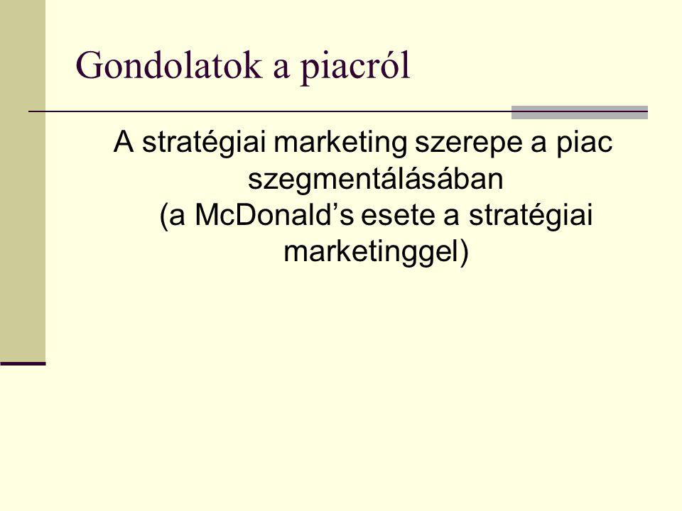 Gondolatok a piacról A stratégiai marketing szerepe a piac szegmentálásában (a McDonald's esete a stratégiai marketinggel)