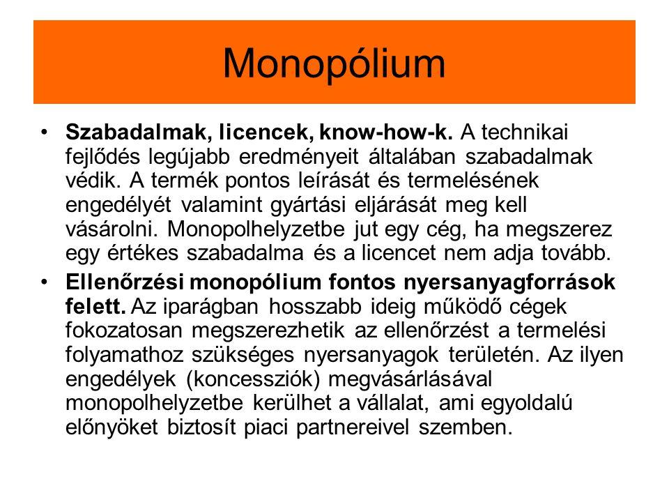 Monopólium Szabadalmak, licencek, know-how-k. A technikai fejlődés legújabb eredményeit általában szabadalmak védik. A termék pontos leírását és terme