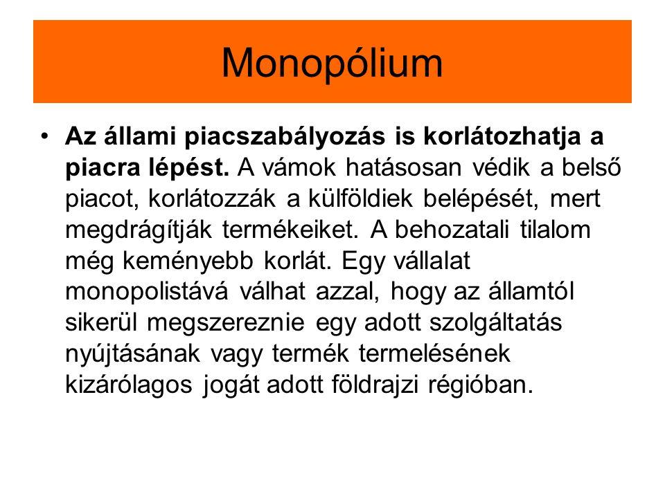 Monopólium Az állami piacszabályozás is korlátozhatja a piacra lépést. A vámok hatásosan védik a belső piacot, korlátozzák a külföldiek belépését, mer