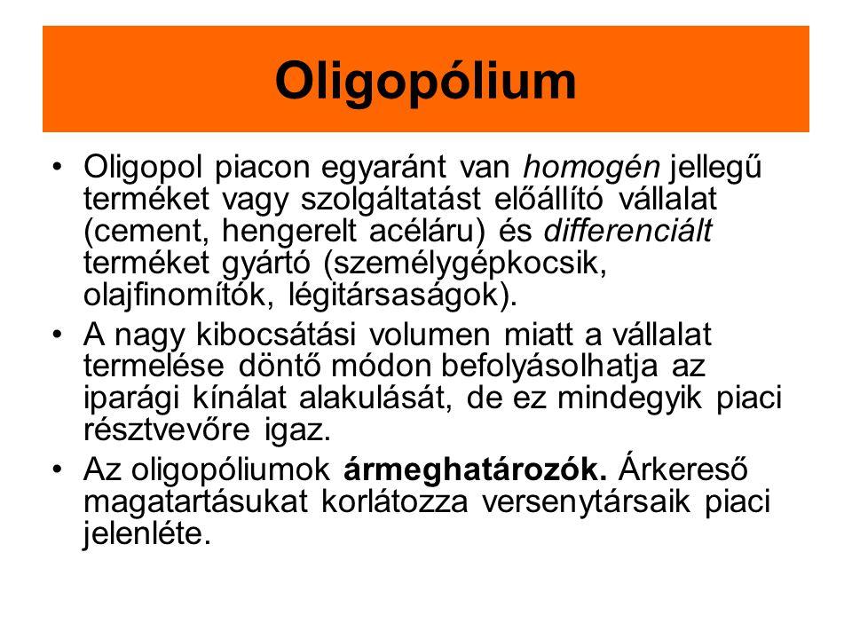 Oligopólium Oligopol piacon egyaránt van homogén jellegű terméket vagy szolgáltatást előállító vállalat (cement, hengerelt acéláru) és differenciált t