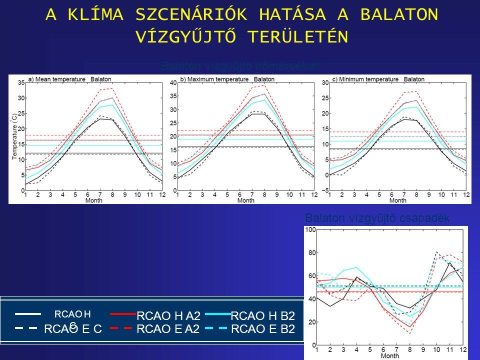 Balaton vízgyűjtő hőmérséklet Balaton vízgyűjtő csapadék A KLÍMA SZCENÁRIÓK HATÁSA A BALATON VÍZGYŰJTŐ TERÜLETÉN RCAO H C RCAO E C RCAO H B2 RCAO E B2 RCAO H A2 RCAO E A2