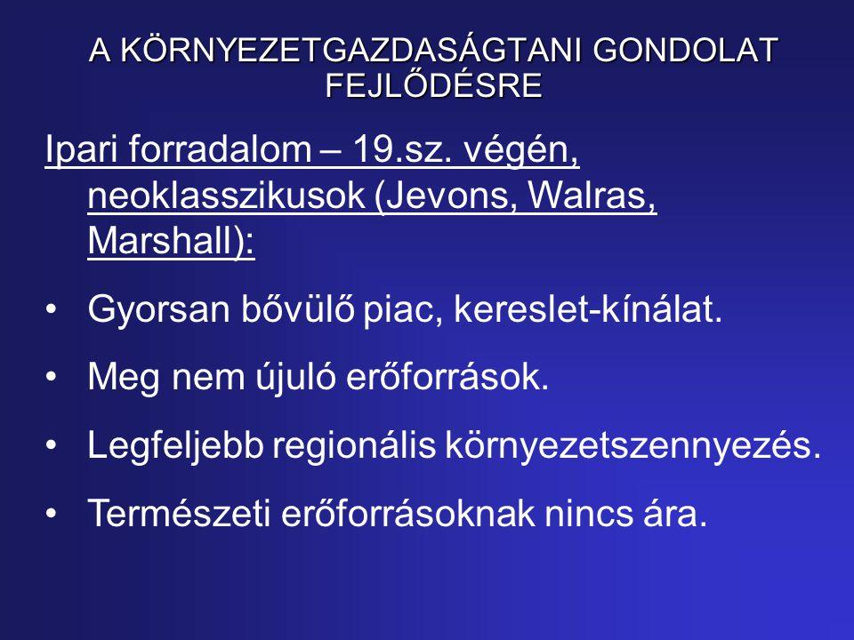 A KÖRNYEZETGAZDASÁGTANI GONDOLAT FEJLŐDÉSRE Ipari forradalom – 19.sz.