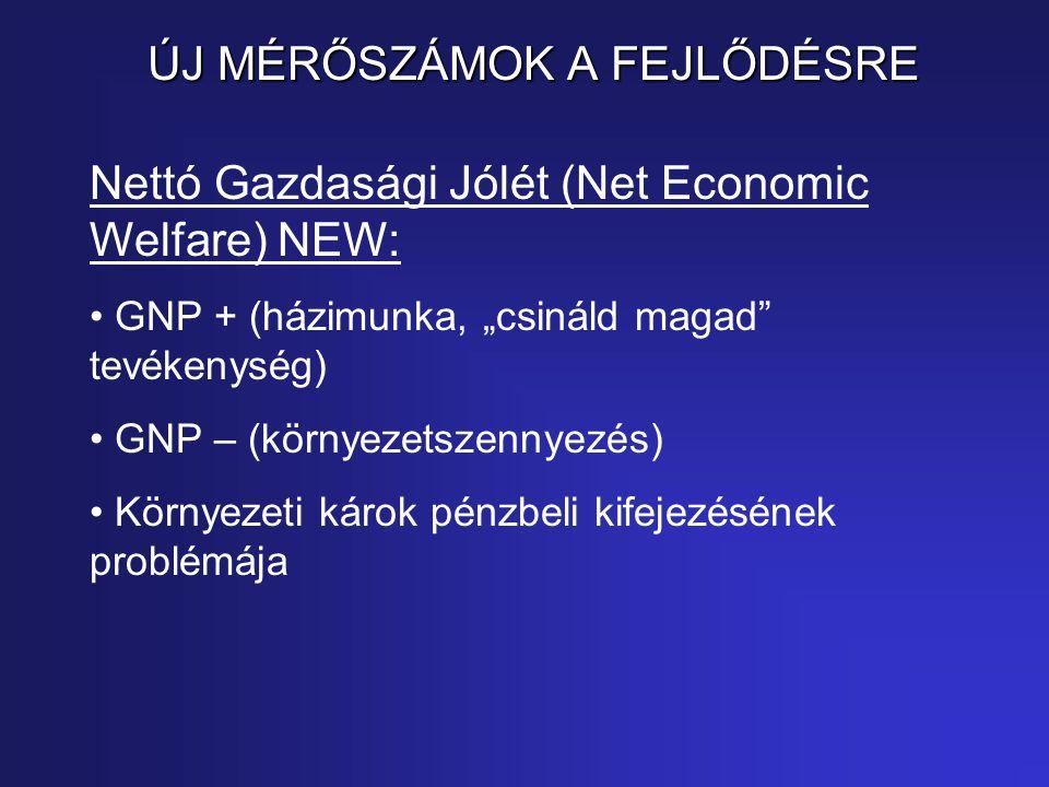 """ÚJ MÉRŐSZÁMOK A FEJLŐDÉSRE Nettó Gazdasági Jólét (Net Economic Welfare) NEW: GNP + (házimunka, """"csináld magad tevékenység) GNP – (környezetszennyezés) Környezeti károk pénzbeli kifejezésének problémája"""