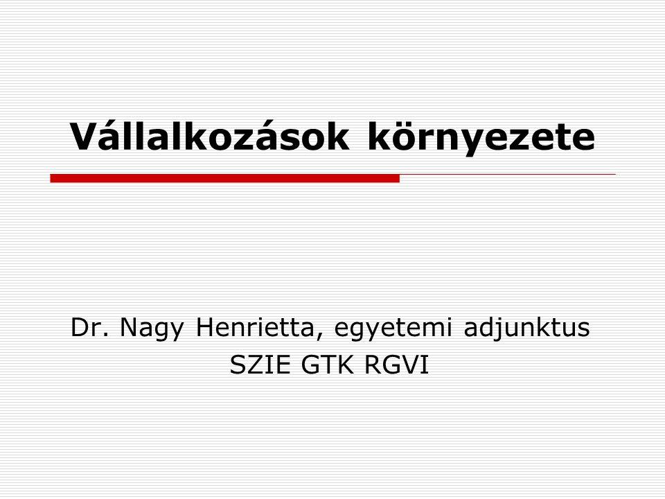 Vállalkozások környezete Dr. Nagy Henrietta, egyetemi adjunktus SZIE GTK RGVI