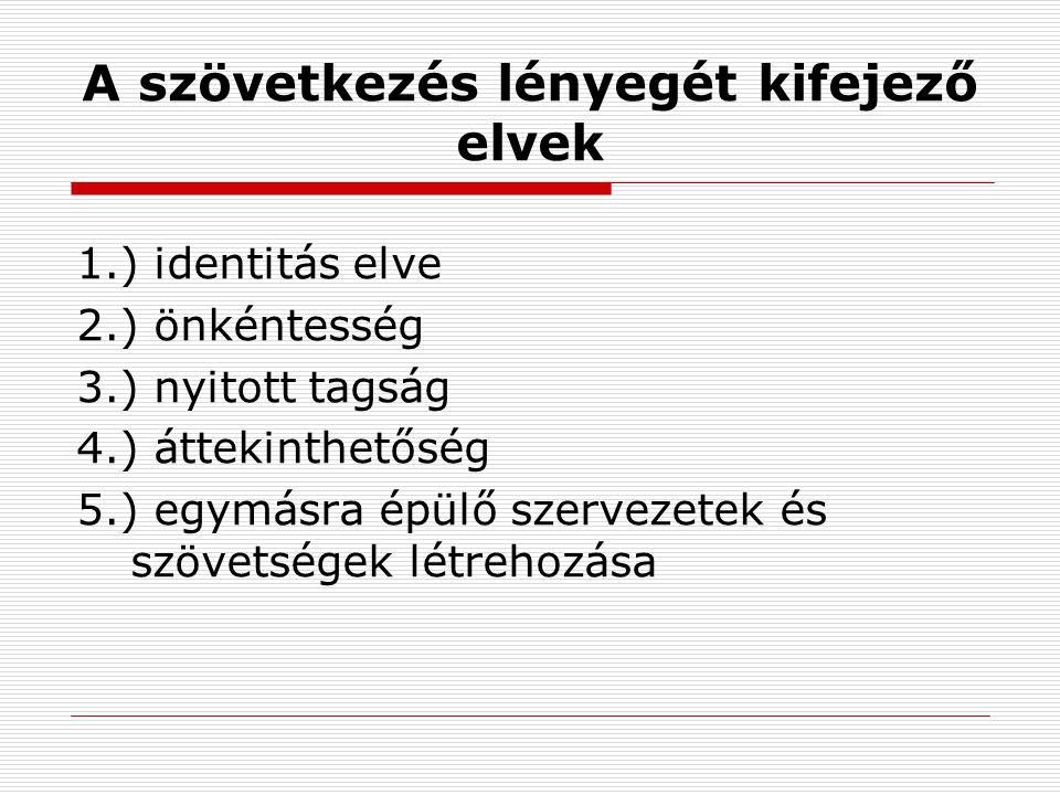 A szövetkezés lényegét kifejező elvek 1.) identitás elve 2.) önkéntesség 3.) nyitott tagság 4.) áttekinthetőség 5.) egymásra épülő szervezetek és szövetségek létrehozása