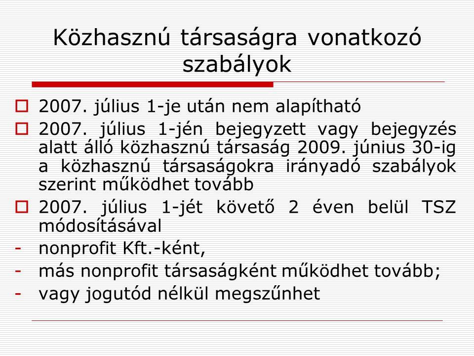 Közhasznú társaságra vonatkozó szabályok  2007. július 1-je után nem alapítható  2007.