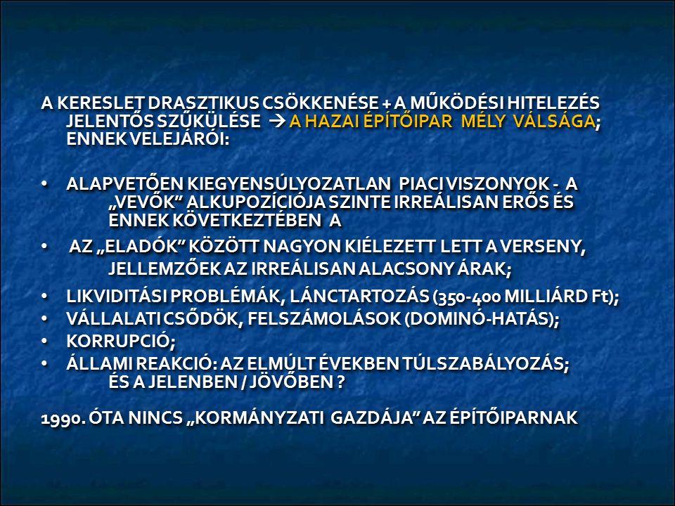 """A KERESLET DRASZTIKUS CSÖKKENÉSE + A MŰKÖDÉSI HITELEZÉS JELENTŐS SZŰKÜLÉSE  A HAZAI ÉPÍTŐIPAR MÉLY VÁLSÁGA; ENNEK VELEJÁRÓI: ALAPVETŐEN KIEGYENSÚLYOZATLAN PIACI VISZONYOK - A """"VEVŐK ALKUPOZÍCIÓJA SZINTE IRREÁLISAN ERŐS ÉS ENNEK KÖVETKEZTÉBEN A ALAPVETŐEN KIEGYENSÚLYOZATLAN PIACI VISZONYOK - A """"VEVŐK ALKUPOZÍCIÓJA SZINTE IRREÁLISAN ERŐS ÉS ENNEK KÖVETKEZTÉBEN A AZ """"ELADÓK KÖZÖTT NAGYON KIÉLEZETT LETT A VERSENY, JELLEMZŐEK AZ IRREÁLISAN ALACSONY ÁRAK; AZ """"ELADÓK KÖZÖTT NAGYON KIÉLEZETT LETT A VERSENY, JELLEMZŐEK AZ IRREÁLISAN ALACSONY ÁRAK; LIKVIDITÁSI PROBLÉMÁK, LÁNCTARTOZÁS (350-400 MILLIÁRD Ft); LIKVIDITÁSI PROBLÉMÁK, LÁNCTARTOZÁS (350-400 MILLIÁRD Ft); VÁLLALATI CSŐDÖK, FELSZÁMOLÁSOK (DOMINÓ-HATÁS); VÁLLALATI CSŐDÖK, FELSZÁMOLÁSOK (DOMINÓ-HATÁS); KORRUPCIÓ; KORRUPCIÓ; ÁLLAMI REAKCIÓ: AZ ELMÚLT ÉVEKBEN TÚLSZABÁLYOZÁS; ÉS A JELENBEN / JÖVŐBEN ."""