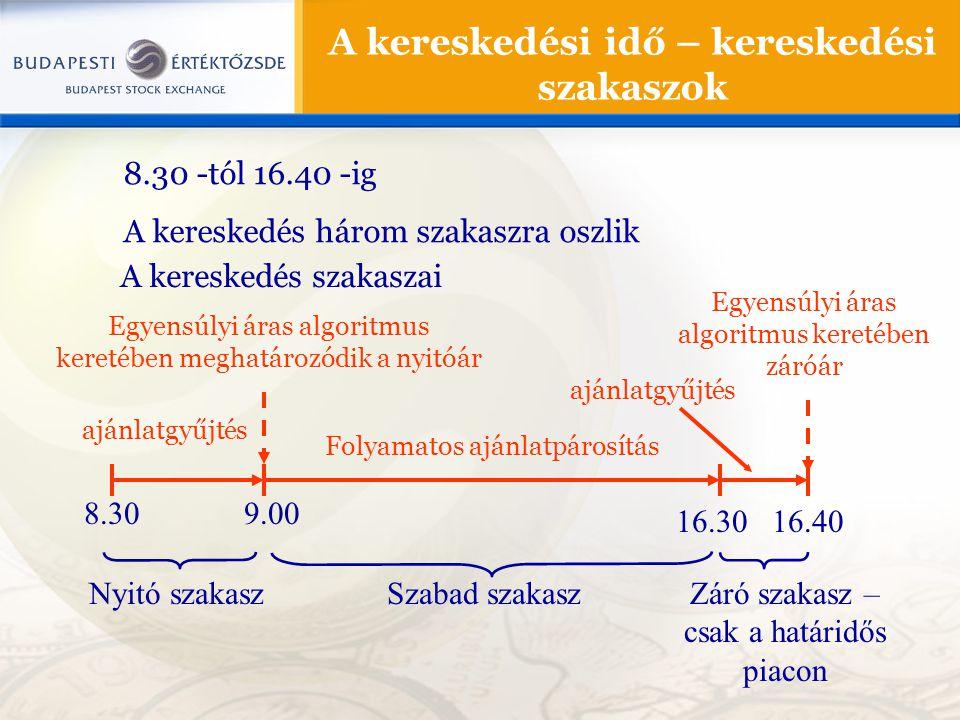 8.30 -tól 16.40 -ig A kereskedés három szakaszra oszlik A kereskedési idő – kereskedési szakaszok A kereskedés szakaszai 8.309.00 16.30 Nyitó szakaszS